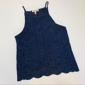 Monteau LA Navy Blue Medium Lace Scallop Tank Top
